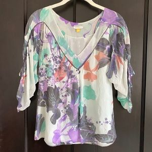 Anthropologie Leifsdottir Watercolor Floral Blouse